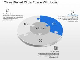 Dl Three Staged Circle Puzzle With Icons Powerpoint Template