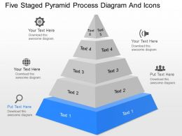 dm Five Staged Pyramid Process Diagram And Icons Powerpoint Template