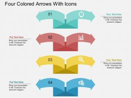 dm Four Colored Arrows With Icons Flat Powerpoint Design