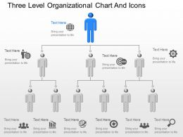 dm Three Level Organizational Chart And Icons Powerpoint Template