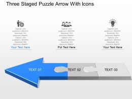 Dm Three Staged Puzzle Arrow With Icons Powerpoint Template