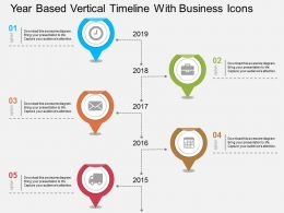 dm Year Based Vertical Timeline With Business Icons Flat Powerpoint Design