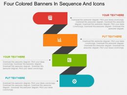 dn Four Colored Banners In Sequence And Icons Flat Powerpoint Design