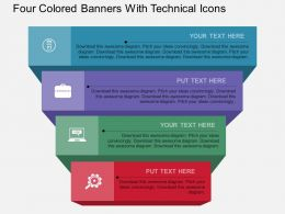 do Four Colored Banners With Technical Icons Flat Powerpoint Design