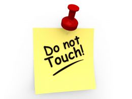 Do Not Touch Text On Sticky Note Stock Photo