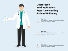 Doctor Icon Holding Medical Report Concerning Patient Wellbeing