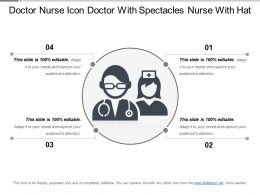 Doctor Nurse Icon Doctor With Spectacles Nurse With Hat