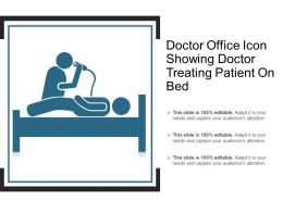Doctor Office Icon Showing Doctor Treating Patient On Bed