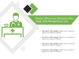 Doctor Office Icon Showing Help Desk With Receptionist Icon