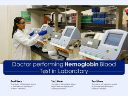 Doctor Performing Hemoglobin Blood Test In Laboratory