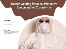 Doctor Wearing Personal Protective Equipment For Coronavirus