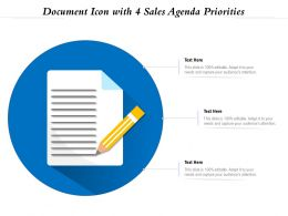 Document Icon With 4 Sales Agenda Priorities