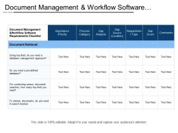 Document Management And Workflow Software Requirements Checklist