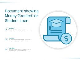 Document Showing Money Granted For Student Loan