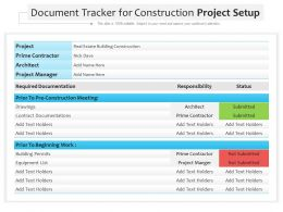 Document Tracker For Construction Project Setup