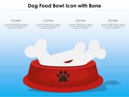 Dog Food Bowl Icon With Bone