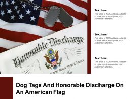 Dog Tags And Honorable Discharge On An American Flag