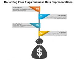 Dollar Bag Four Flags Business Data Representations Flat Powerpoint Design