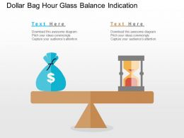 Dollar Bag Hour Glass Balance Indication Flat Powerpoint Design