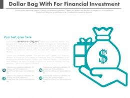 Dollar Bag With For Financial Investment Flat Powerpoint Design