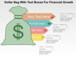 Dollar Bag With Text Boxes For Financial Growth Flat Powerpoint Design