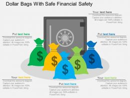 Dollar Bags With Safe Financial Safety Flat Powerpoint Desgin