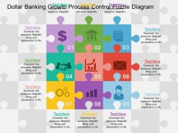 Dollar Banking Growth Process Control Puzzle Diagram Flat Powerpoint Design