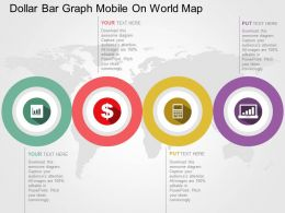 Dollar Bar Graph Mobile On World Map Flat Powerpoint Design