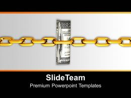 Dollar Bills Attached With Security Chain Powerpoint Templates Ppt Themes And Graphics 0213