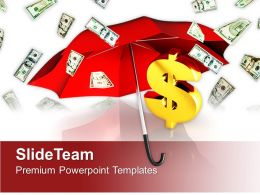 Dollar Bills Falling Under Umbrella PowerPoint Templates PPT Themes And Graphics 0313