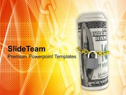 Dollar Bills Locked With Chain Security PowerPoint Templates PPT Themes And Graphics 0213