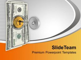Dollar Bills Locked With Key Security PowerPoint Templates PPT Themes And Graphics 0213