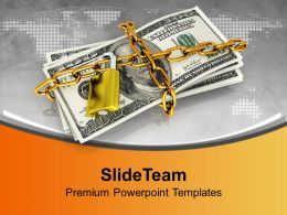 Dollar Bills Locked With Security Chain Powerpoint Templates Ppt Themes And Graphics 0213
