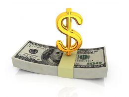 Dollar Bundles With Golden Symbol Stock Photo
