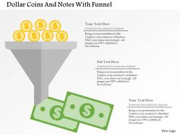 Dollar Coins And Notes With Funnel Flat Powerpoint Design