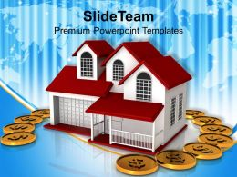 Dollar Coins Around Home Insurance Concept Finance Powerpoint Templates Ppt Themes And Graphics 0113