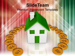 Dollar Coins Around House Investment Business Powerpoint Templates Ppt Themes And Graphics 0113