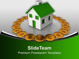 Dollar Coins Around House Investment Powerpoint Templates Ppt Backgrounds For Slides 0113