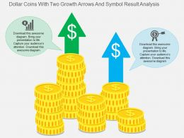Dollar Coins With Two Growth Arrows And Symbol Result Analysis Flat Powerpoint Design