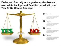 Dollar Euro Signs On Golden Scales Isolated Over White Beat The Crowd With Our Yew Or No Choice Concept