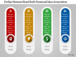 Dollar Human Head Bulb Financial Idea Generation Flat Powerpoint Design