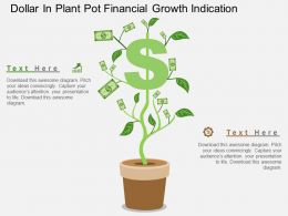 Dollar In Plant Pot Financial Growth Indication Flat Powerpoint Design