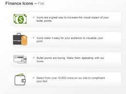 Dollar Notes Suitcase Debit Cards Wallet Ppt Icons Graphics