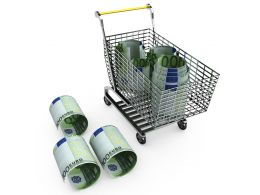 Dollar Rolls In And Outside Shopping Cart For Marketing And Sales Stock Photo