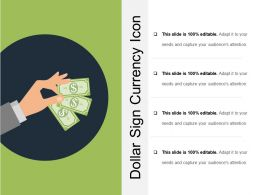 Dollar Sign Currency Icon Ppt Examples Professional