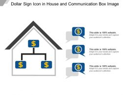 Dollar Sign Icon In House And Communication Box Image
