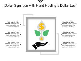 Dollar Sign Icon With Hand Holding A Dollar Leaf