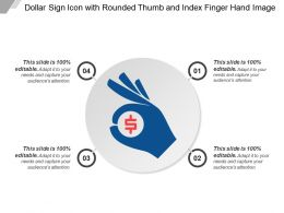Dollar Sign Icon With Rounded Thumb And Index Finger Hand Image