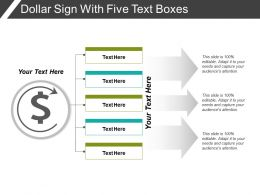 Dollar Sign With Five Text Boxes