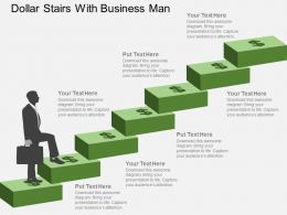 Dollar Stairs With Business Man Flat Powerpoint Design